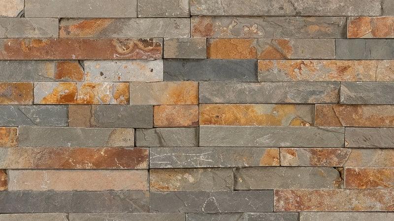 Marshalls Stoneface Drystack garden walling in Copper Slate.