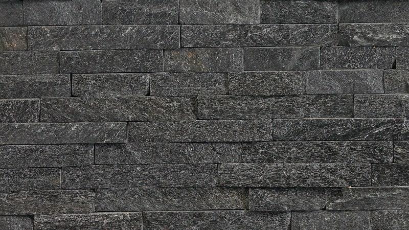 Marshalls Stoneface Drystack garden walling in Nero Quartzite.