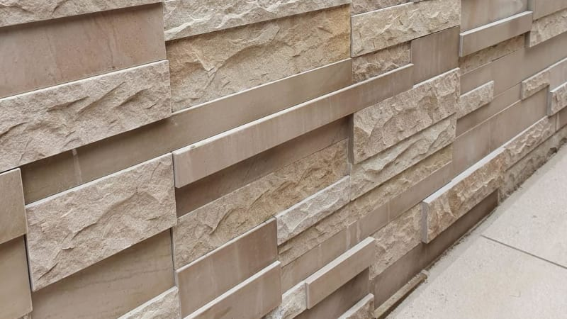 Marshalls Stoneface Mixed Texture Walling in Golden Sand