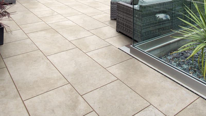 Marshalls Symphony Natural paving laid in a garden