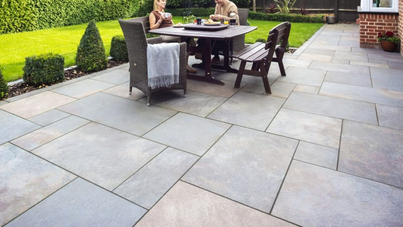 Marshalls Symphony Natural garden paving in copper
