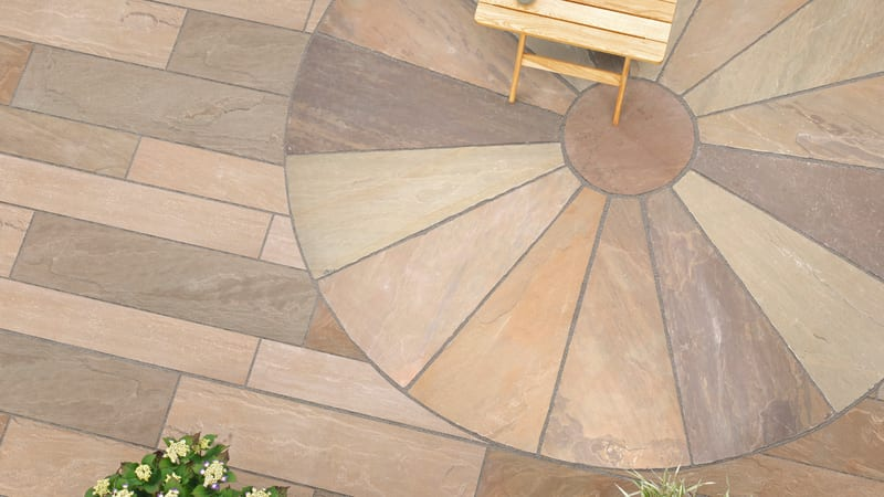 Riven Harena Linear Paving And Circle - Autumn Bronze Multi