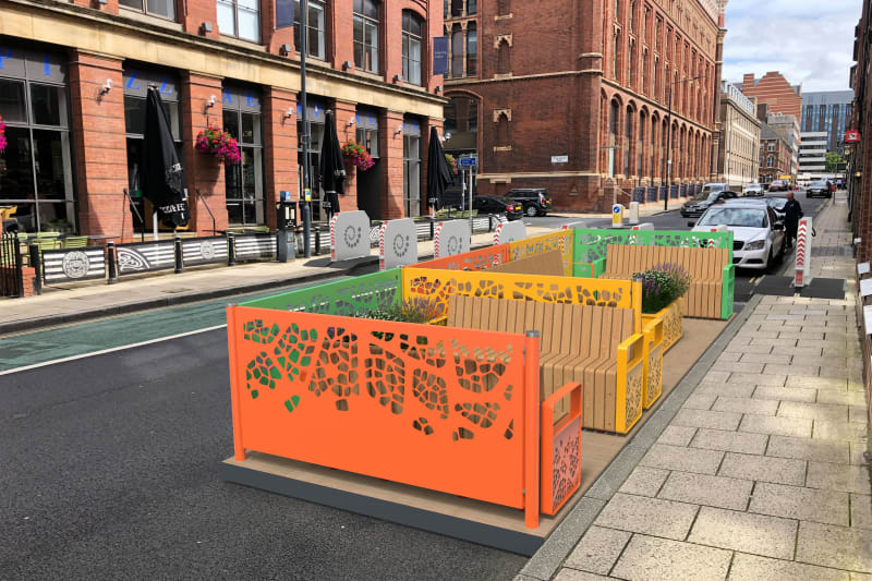Parklet seating seen in a city centre
