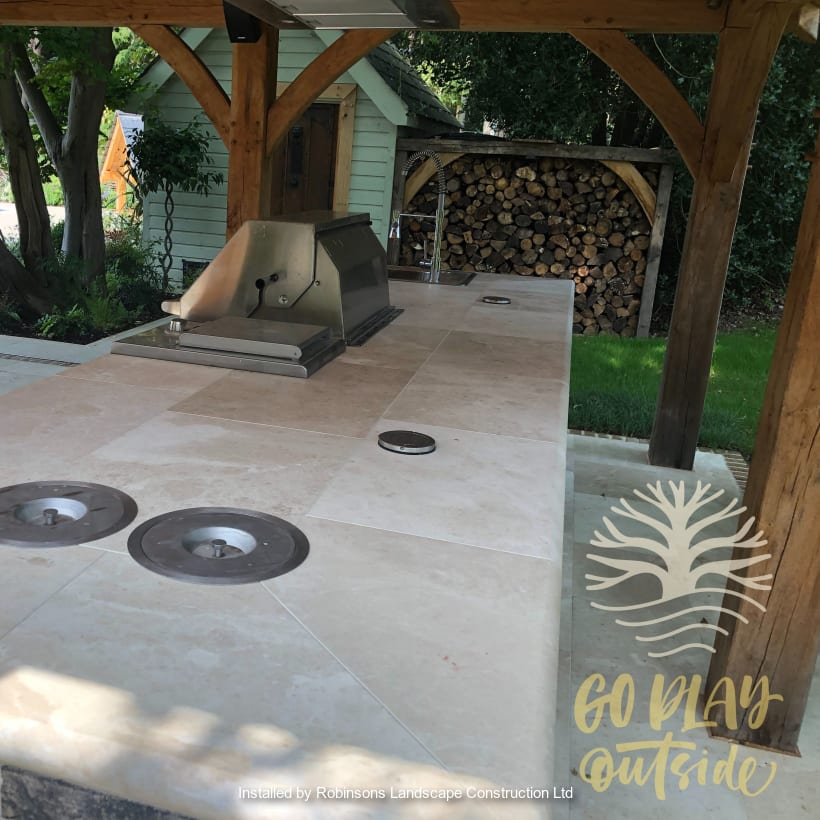 Marshalls paving installed in a patio area.