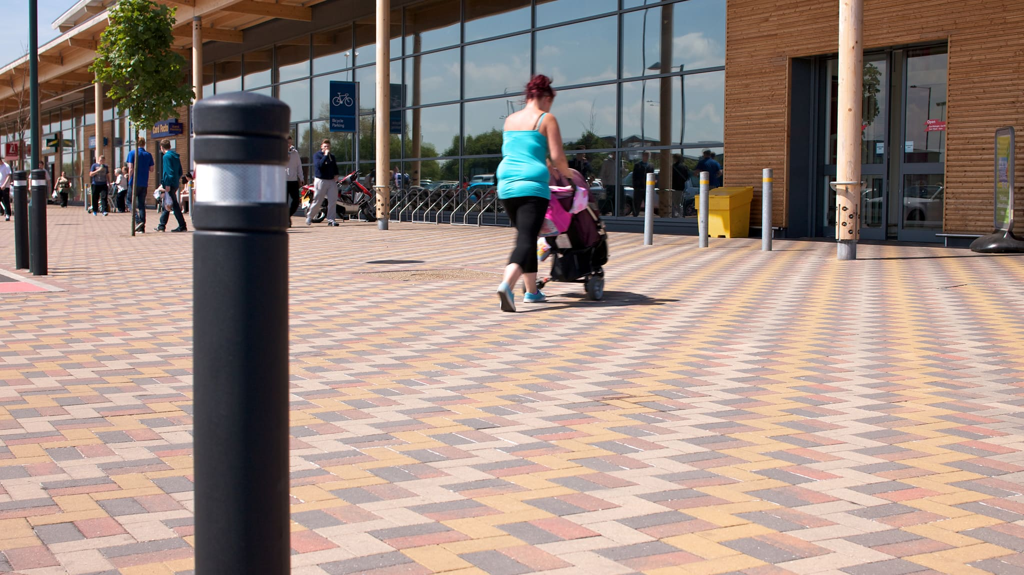 Block paving outside supermarket