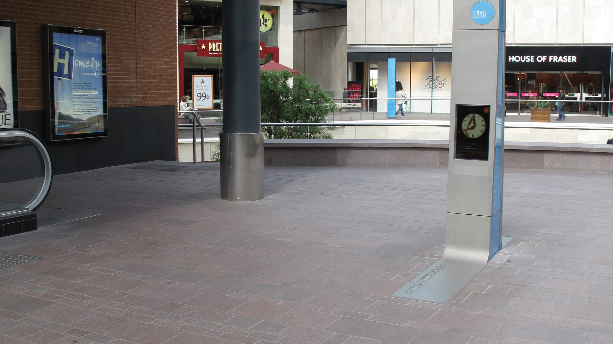 red granite in shopping centre