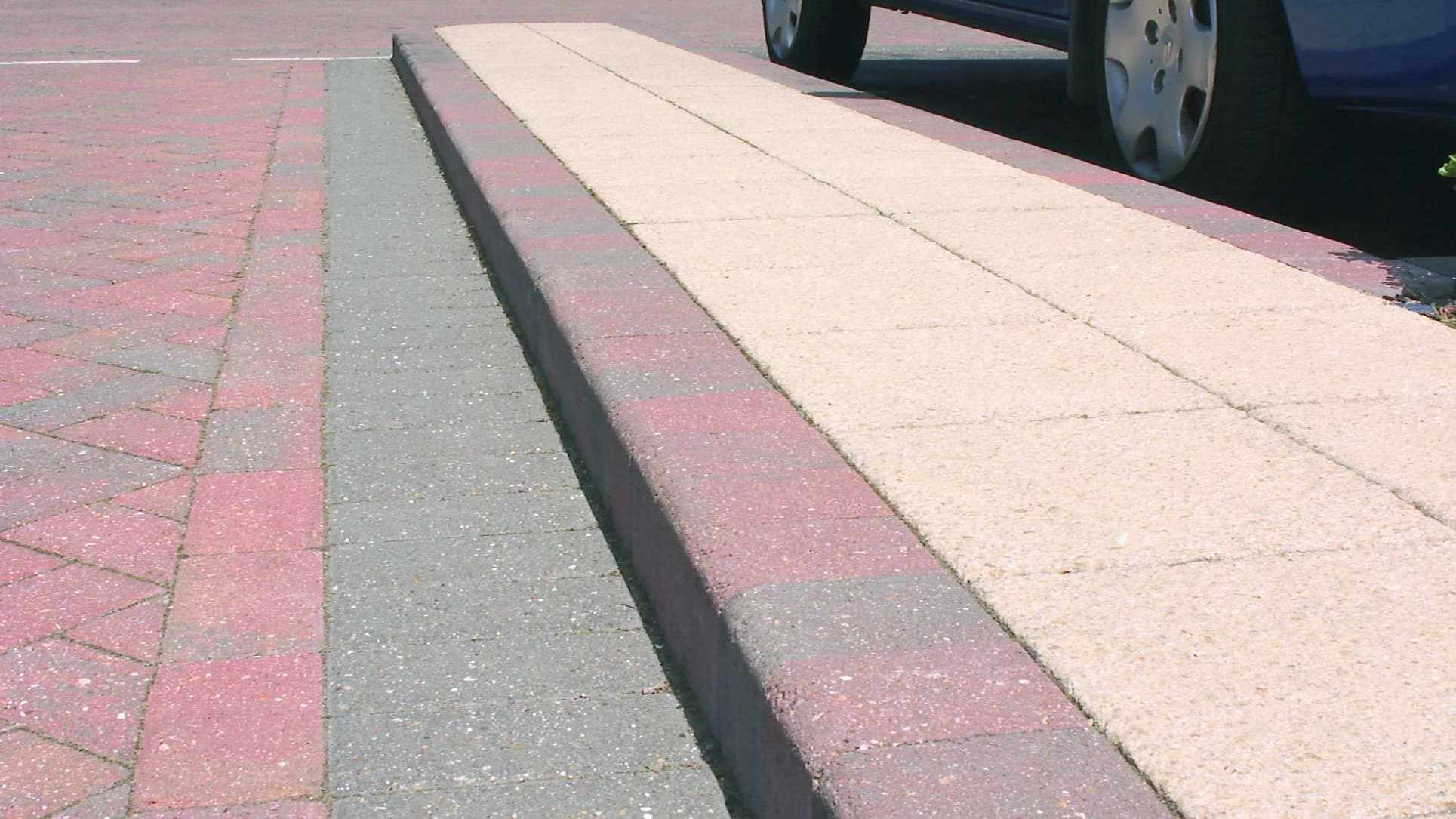 British standard kerb in a car park