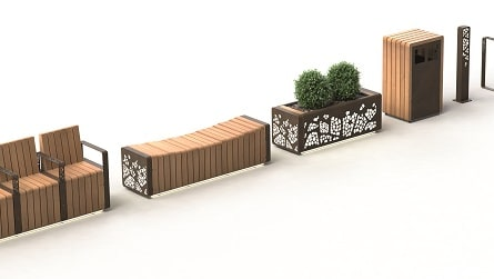 Natural Elements collection of  seating, planters, litter bins and bollards.