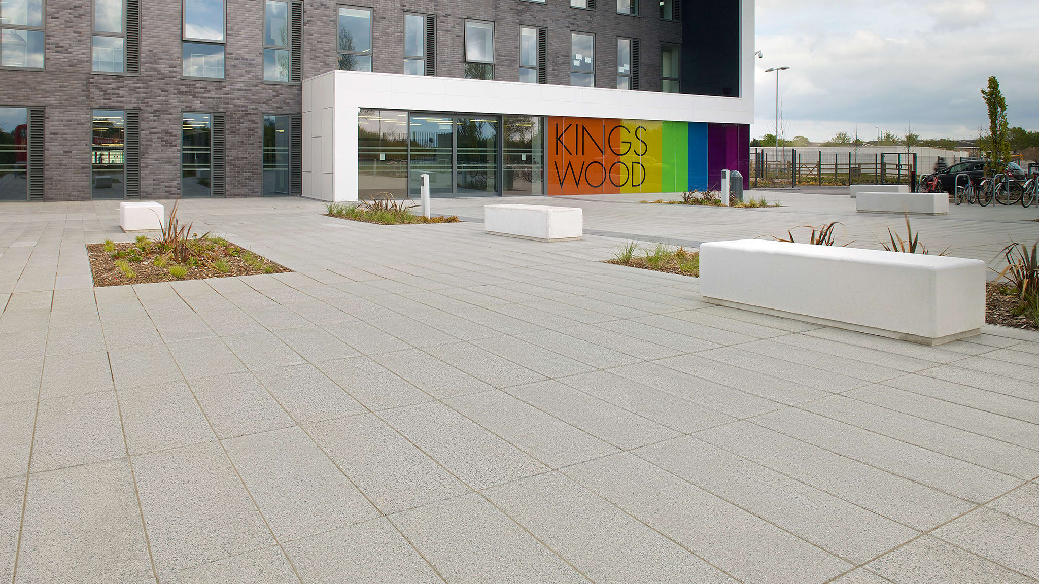 Block paving outside modern building