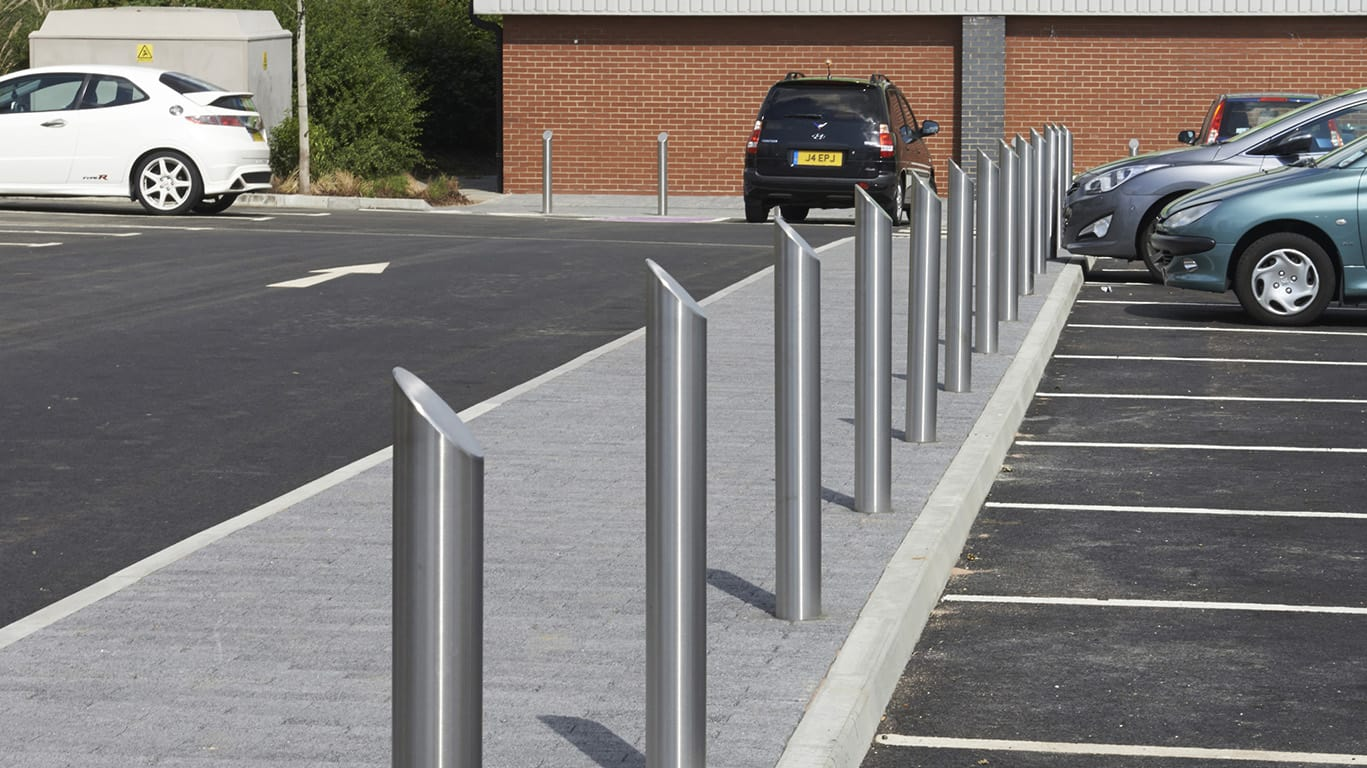 metal bollards car park demarcation