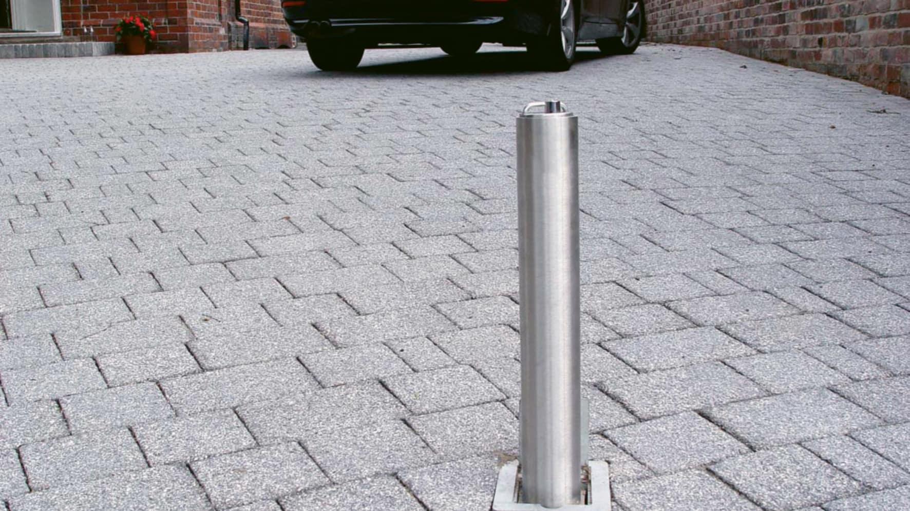 telescopic bollards on a driveway