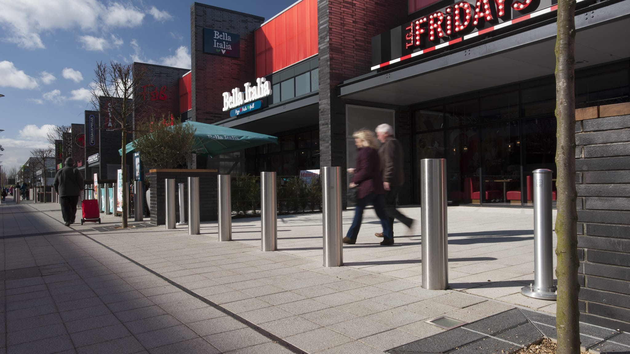 rhinoguard bollards in a retail park