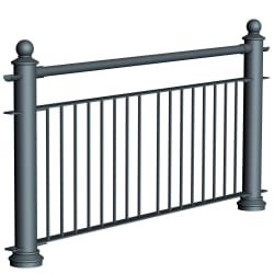 ferrocast court 2 (reduced hi vis) polyurethane pedestrian guard rail