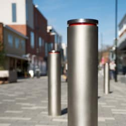 geo bollard with red reflective tape