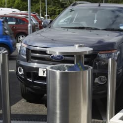 geo litter bin and rhino rs004 stainless steel bollards mayflower retail park basildon