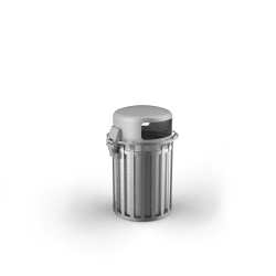 m3 90l litter bin with lid stainless steel