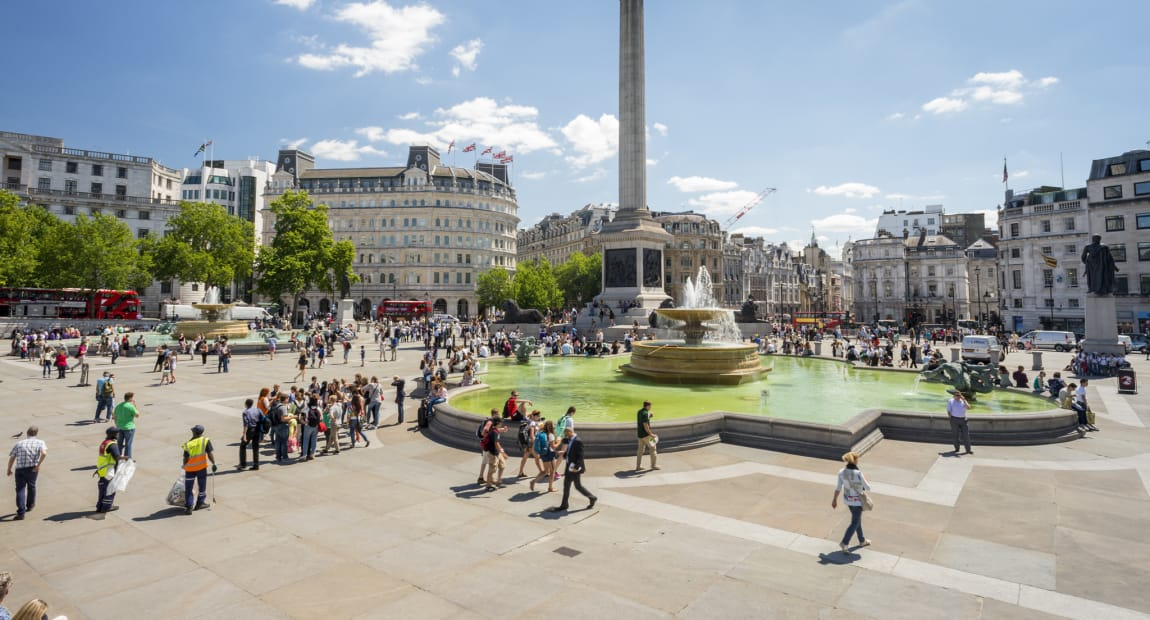 natural stone paving in busy city centre attraction