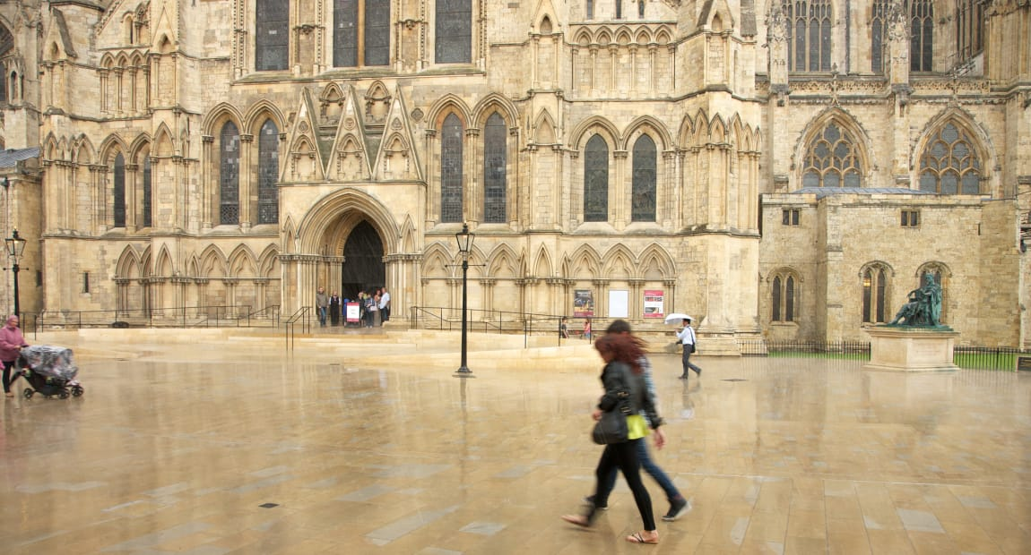 natural stone paving in front of cathedral