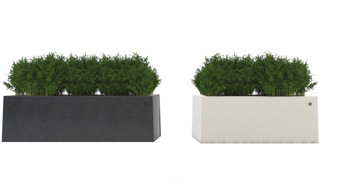 Dark grey and white planters.