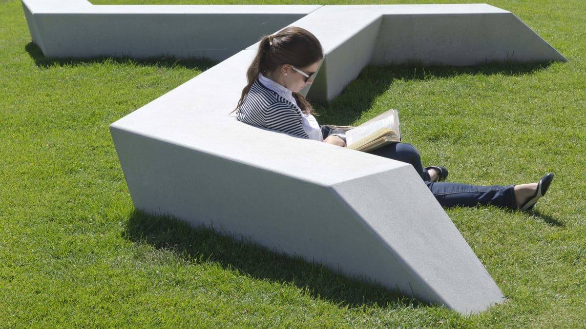 woman reading a book on the grass next to the bench