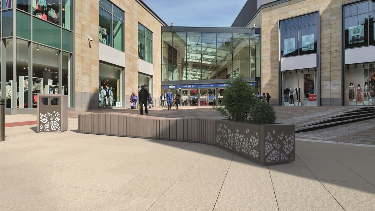Natural Elements Bench Concave Module in front of shopping centre.