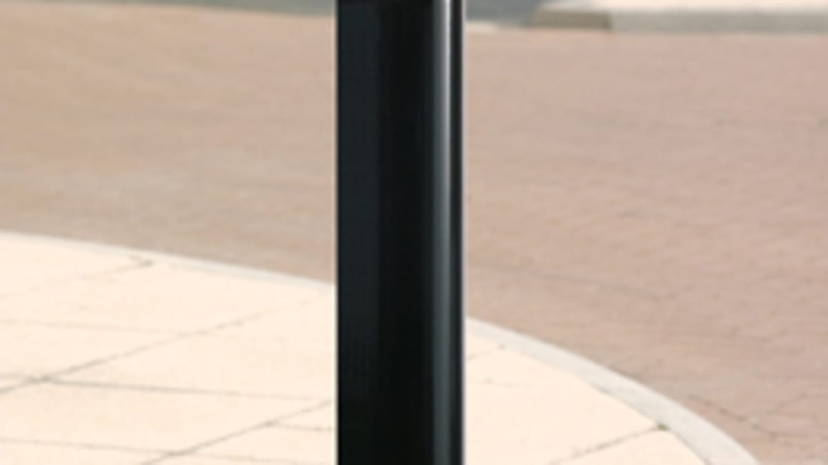 black bollard with yellow reflective strip