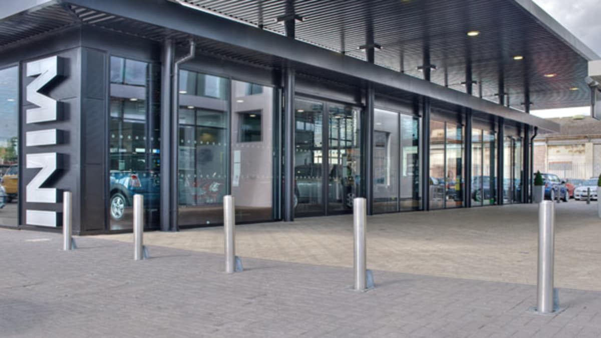 steel bollards outside the mini garage