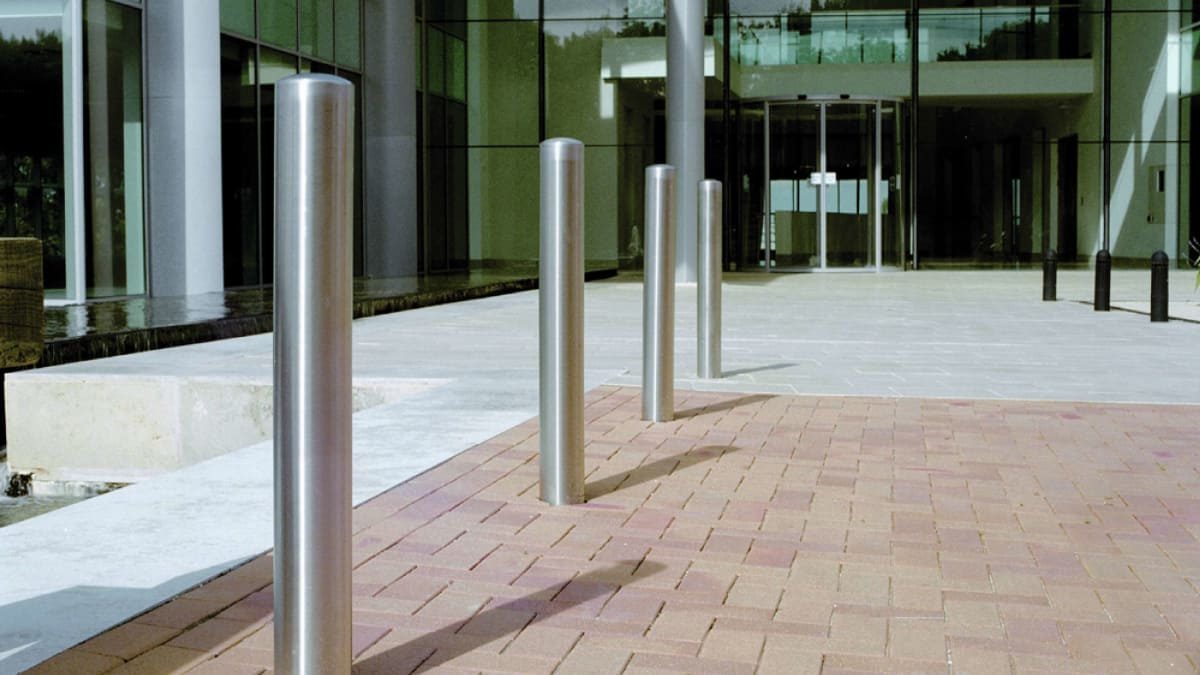 steel bollards outside entrance