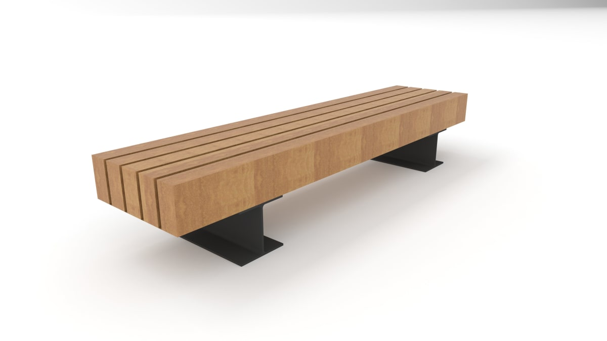 wooden trammet bench white background