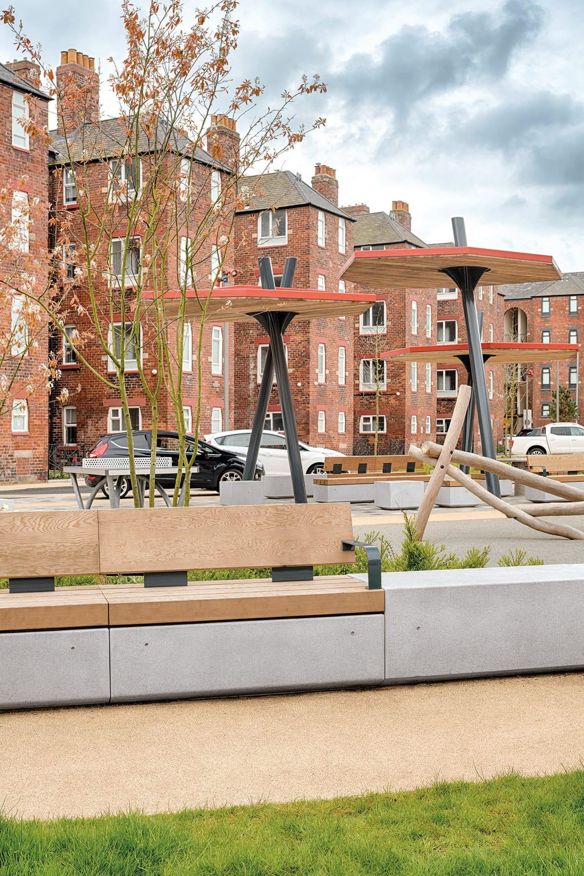 Metrolinia modular concrete seating units