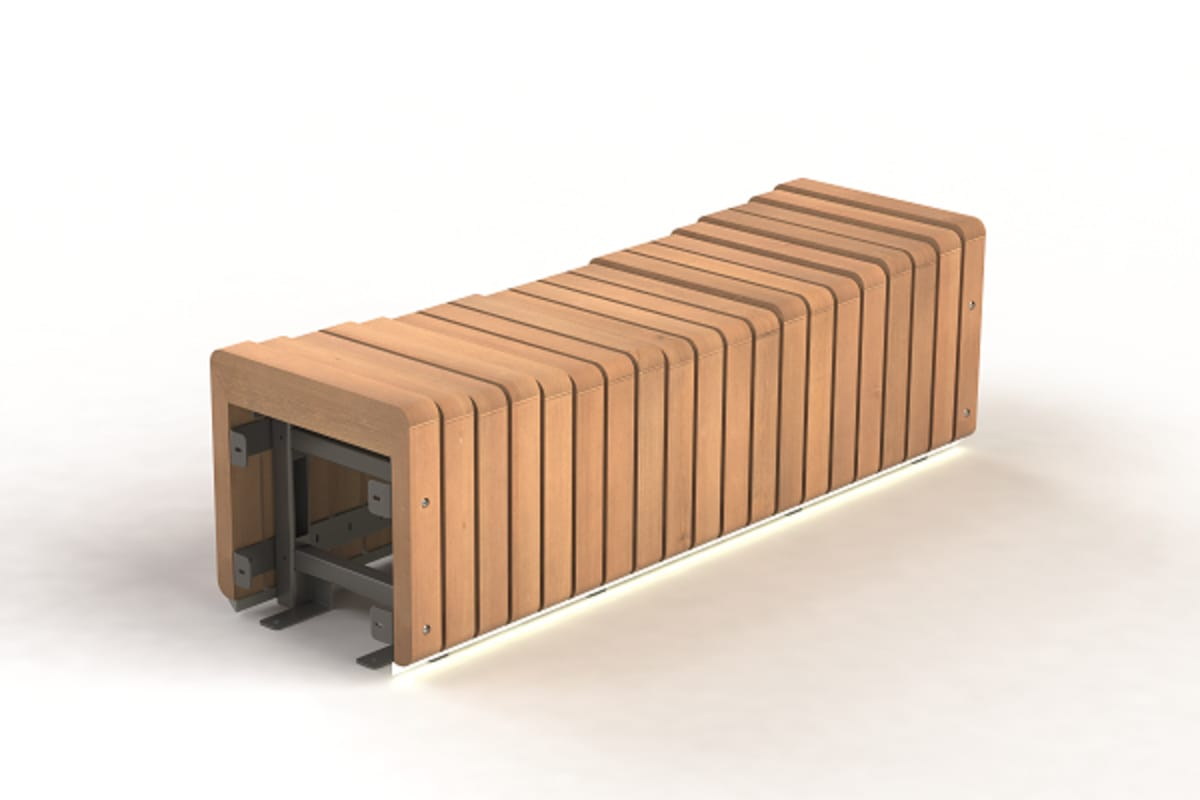 bench concave module - rustic brown
