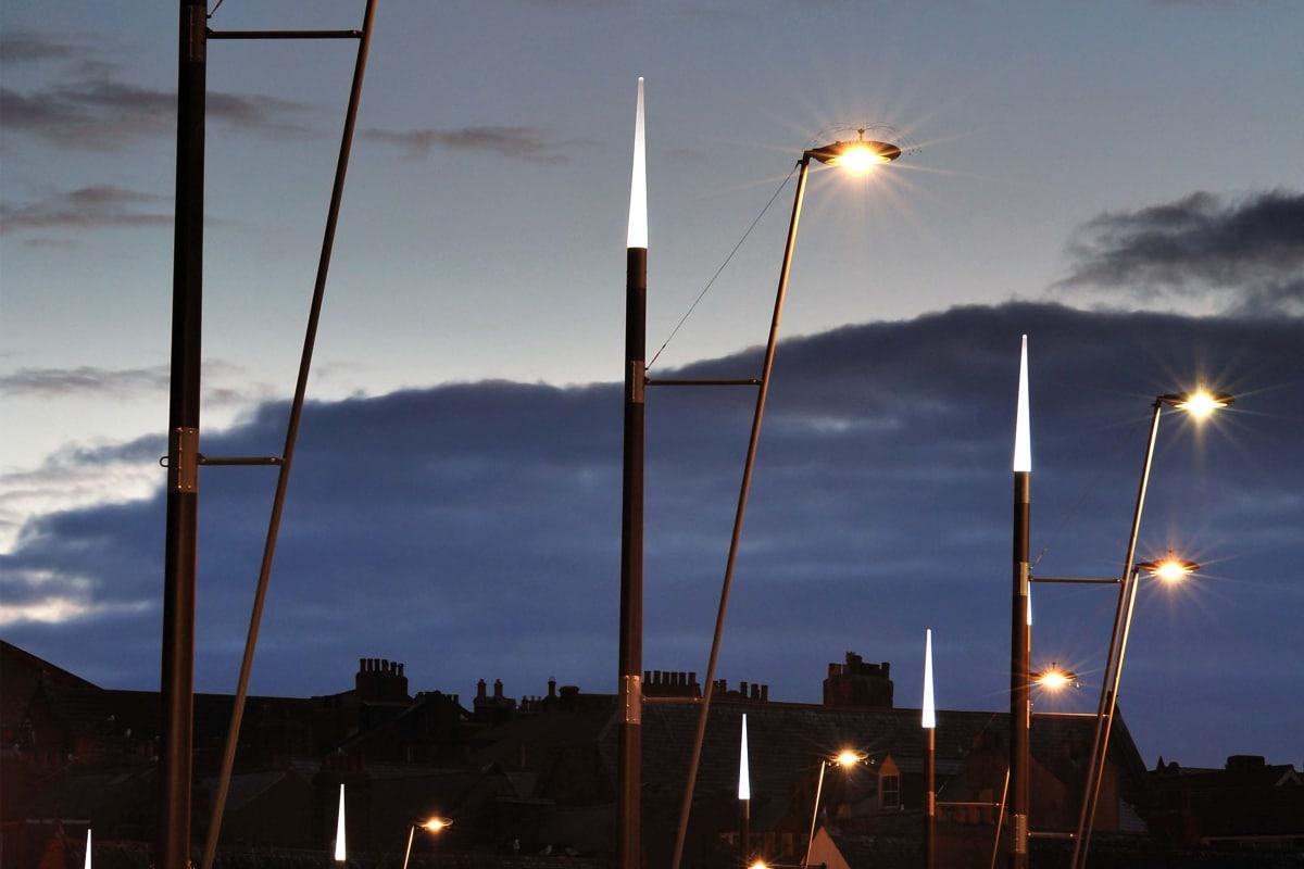 bespoke ship style masts and geo disc lanterns