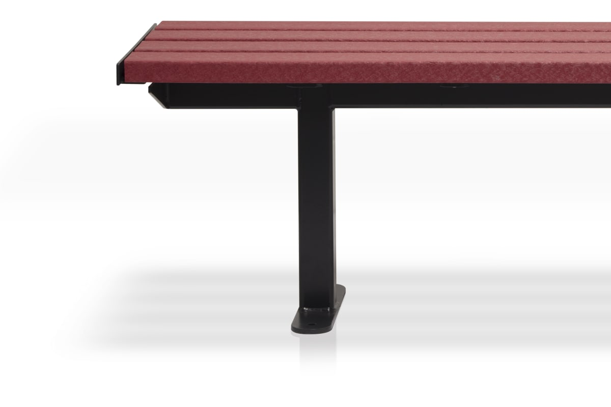 citi element bench - red plastic slats with black steel frame