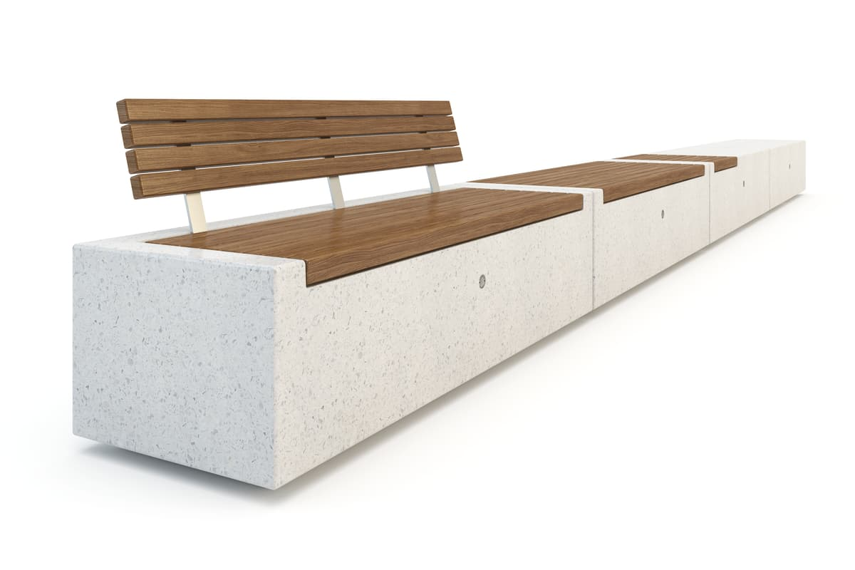 demetra bench with timber slats