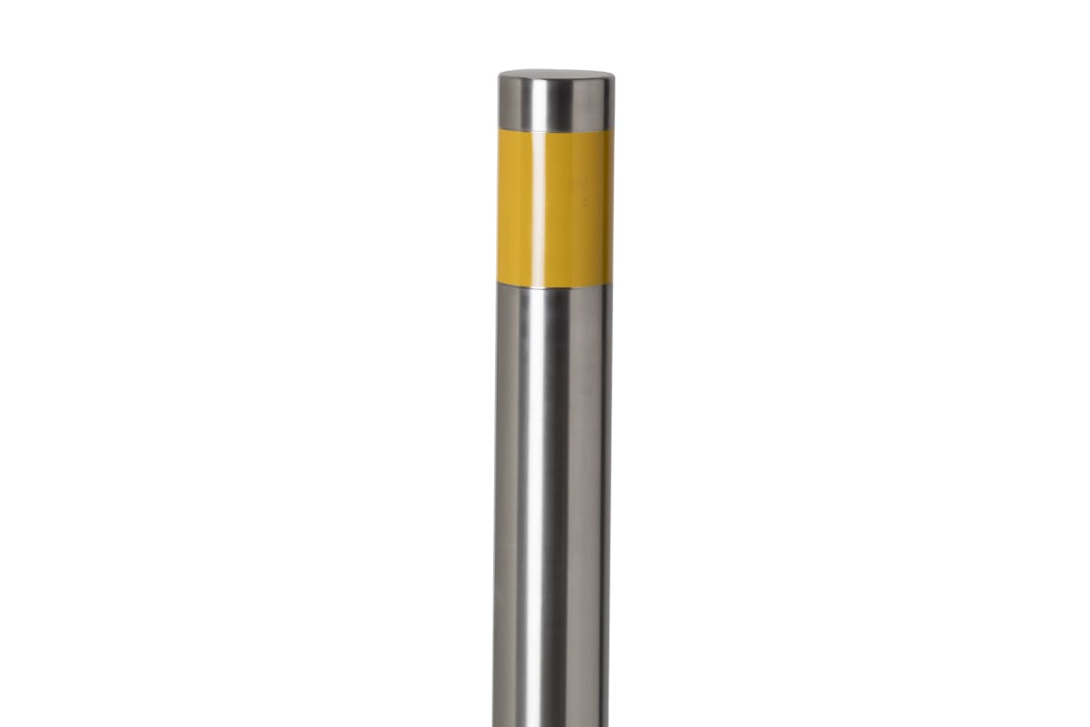 essentials 304 stainless steel flat top bollard with reflective tape