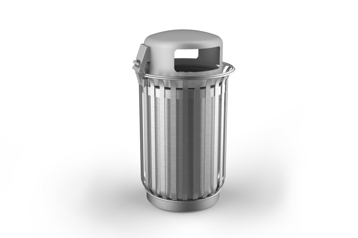 m3 110l litter bin with lid stainless steel