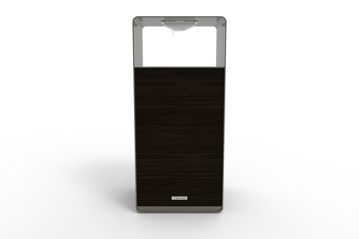 stratic litter bin - back view - onyx and quartz