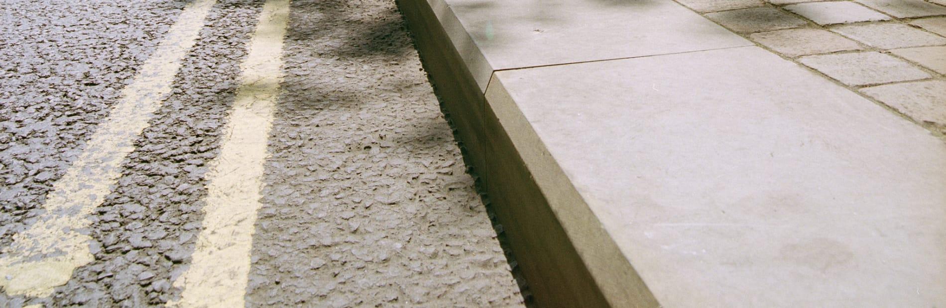 natural stone kerb used roadside