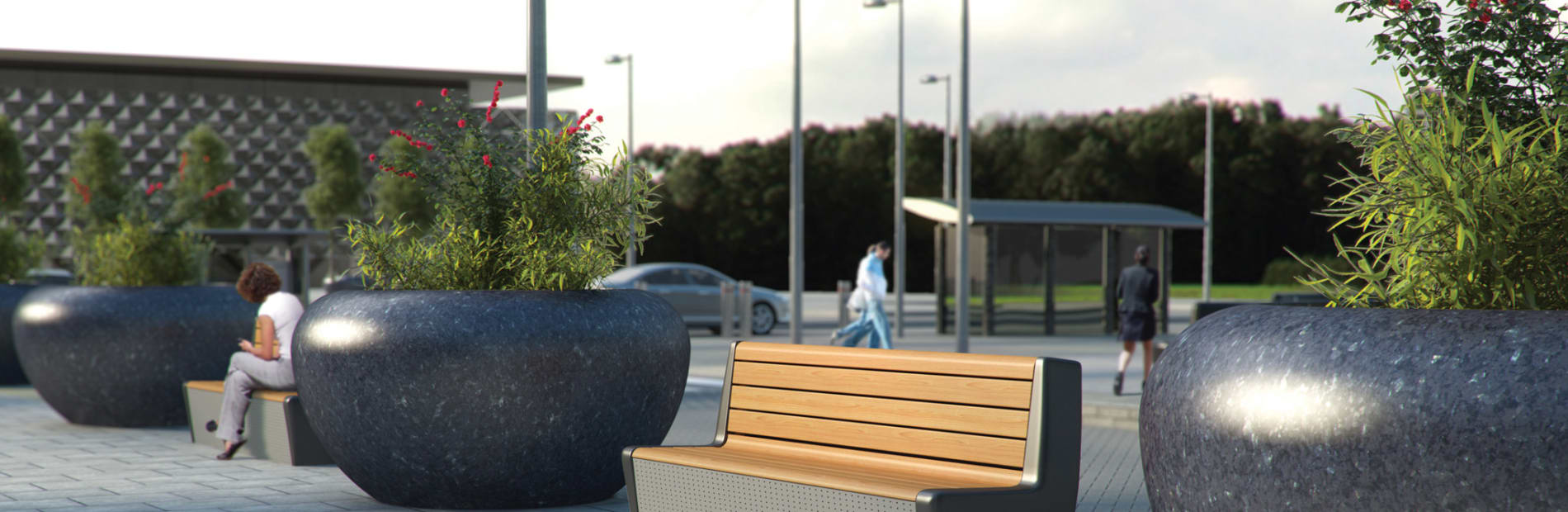 rhinoguard EOS protective seat and planters insitu