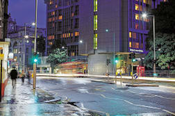 geo multi-functional lighting columns and keep left signs