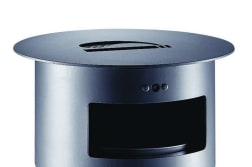 sineu graff contemporary round aperture in top/empty via front steel and stainless steel litter bin