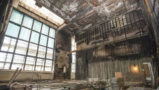 Shot of Glasgow school of arts mackintosh building before being renovated