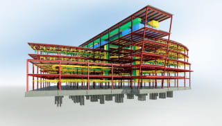 3D model of a large modern urban office