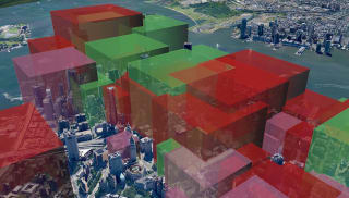 3D rendering over a city of potential growth and expansion for building development