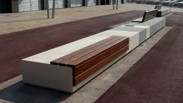 bench with wood insert