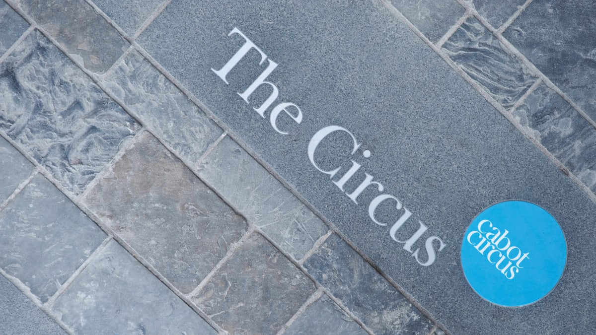 Prospero granite inlaid and painted at Cabot Circus, Bristol