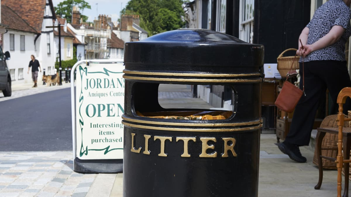 Albion Circular Litter Bin in the street.