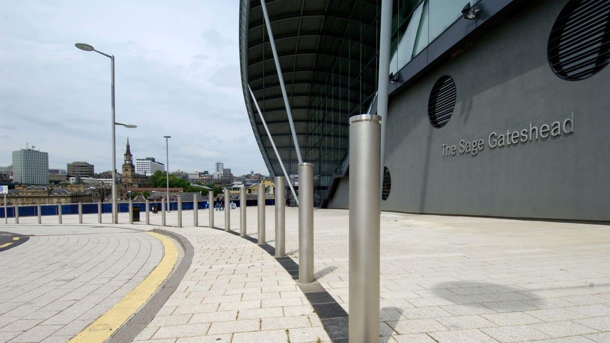 Geo bollards outside an arena