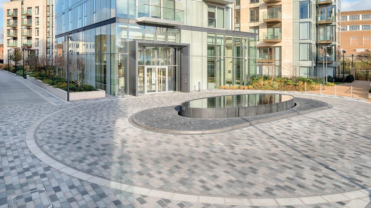 black granite paving laid in Lillie Square