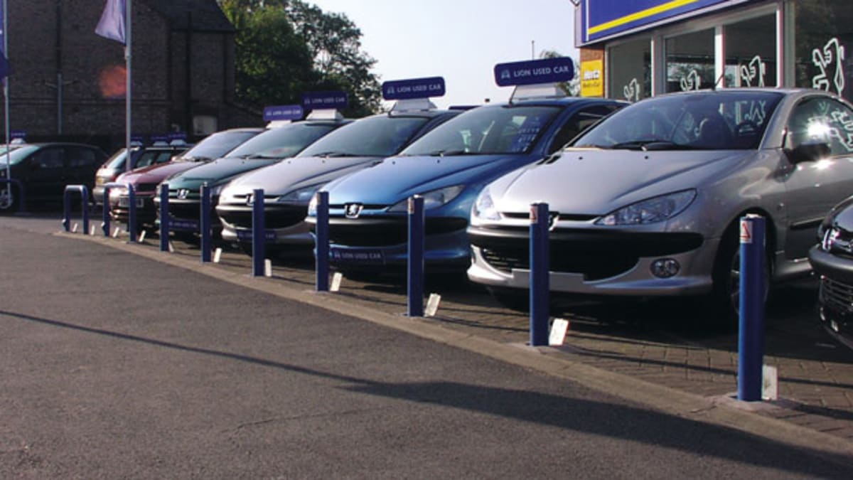bollards outside a car sales centre